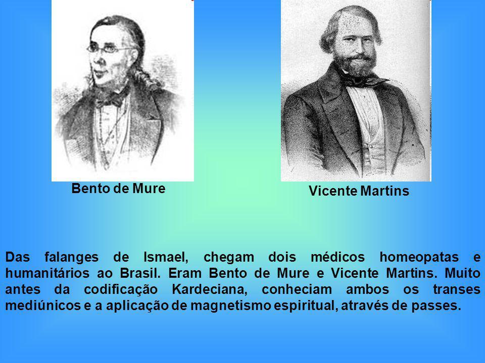 Das falanges de Ismael, chegam dois médicos homeopatas e humanitários ao Brasil. Eram Bento de Mure e Vicente Martins. Muito antes da codificação Kard
