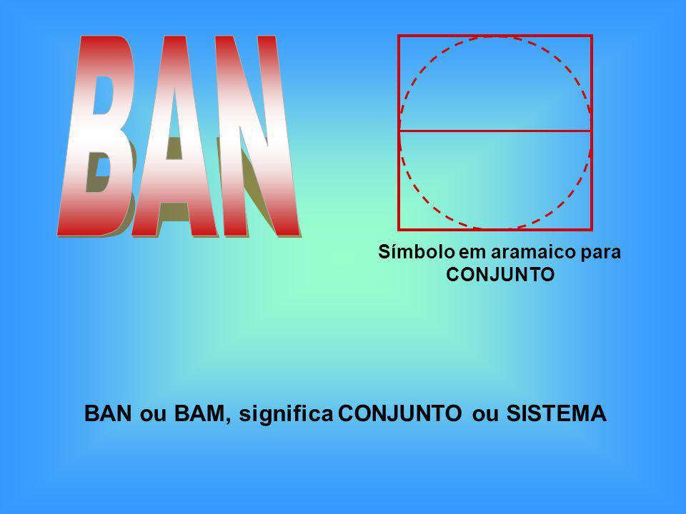 BAN ou BAM, significa CONJUNTO ou SISTEMA Símbolo em aramaico para CONJUNTO