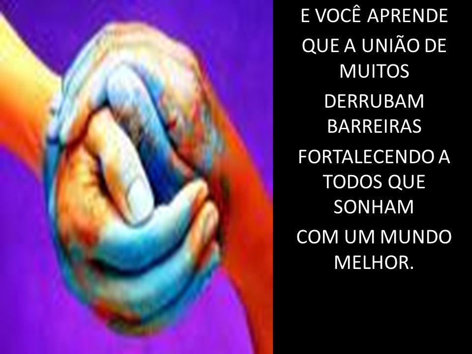 E VOCÊ APRENDE QUE A UNIÃO DE MUITOS DERRUBAM BARREIRAS FORTALECENDO A TODOS QUE SONHAM COM UM MUNDO MELHOR.
