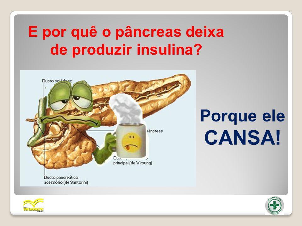 E por quê o pâncreas deixa de produzir insulina? Porque ele CANSA!