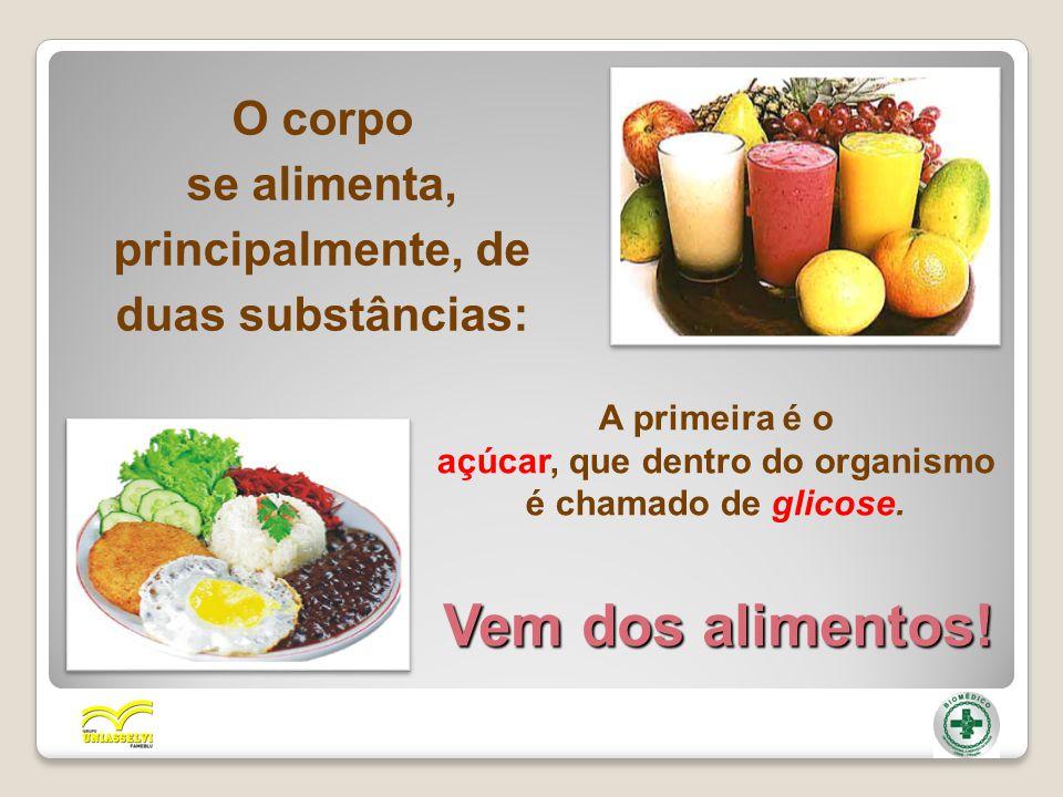 O corpo se alimenta, principalmente, de duas substâncias: A primeira é o açúcar, que dentro do organismo é chamado de glicose. Vem dos alimentos!