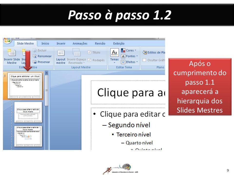 Passo à passo 1.2 9 Após o cumprimento do passo 1.1 aparecerá a hierarquia dos Slides Mestres