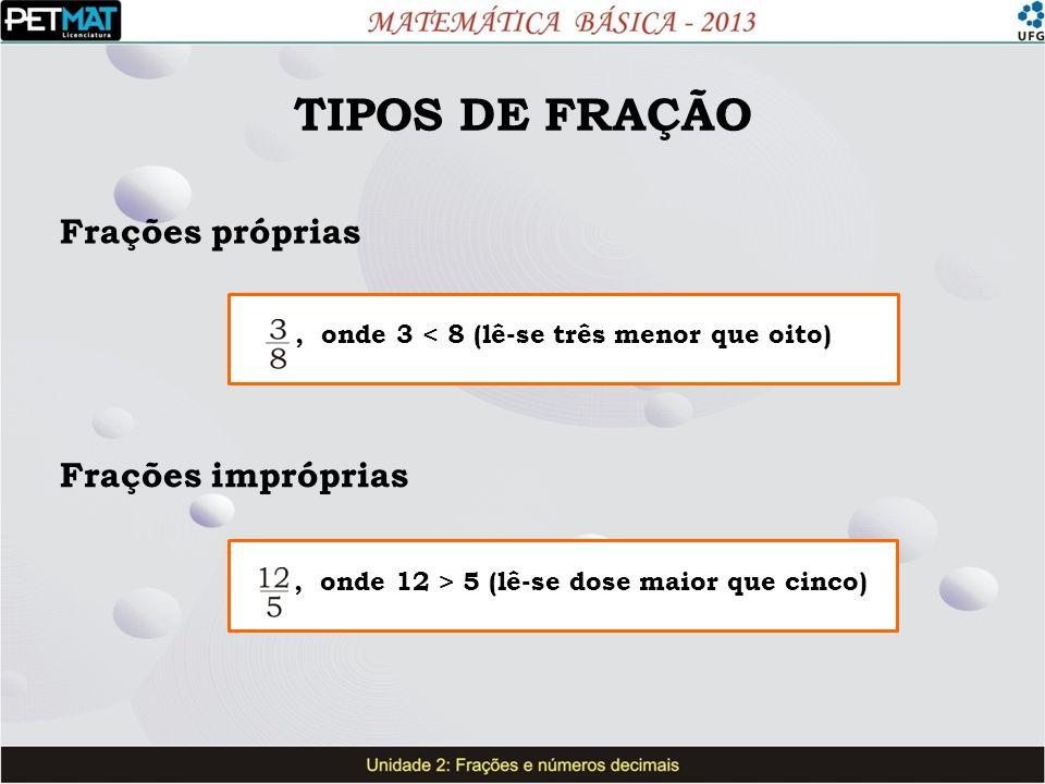 TIPOS DE FRAÇÃO Frações próprias Frações impróprias, onde 3 < 8 (lê-se três menor que oito), onde 12 > 5 (lê-se dose maior que cinco)