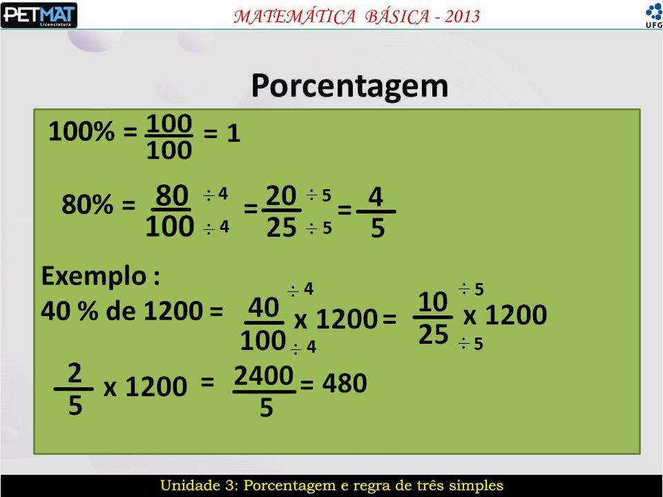 Regra de três e porcentagem A regra de três também é muito usada para resolver problemas que envolvem porcentagem, fazendo com que o nosso valor total seja correspondente a 100% e o valor parcial correspondendo com a porcentagem parcial.