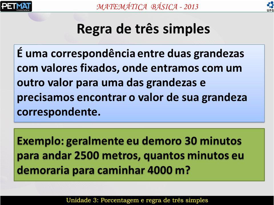 Regra de três simples É uma correspondência entre duas grandezas com valores fixados, onde entramos com um outro valor para uma das grandezas e precis