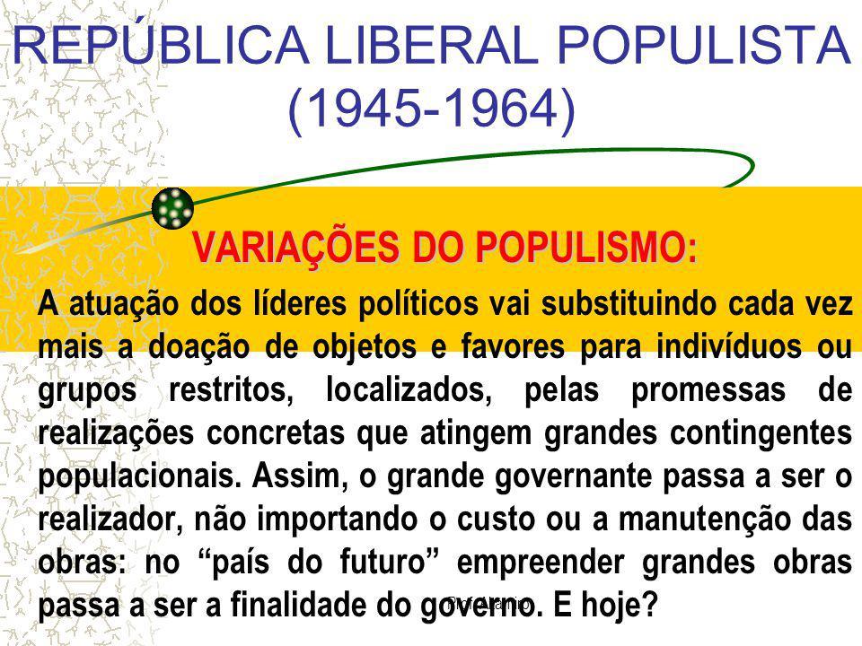 Prof. Altamiro REPÚBLICA LIBERAL POPULISTA (1945-1964) VARIAÇÕES DO POPULISMO: A atuação dos líderes políticos vai substituindo cada vez mais a doação