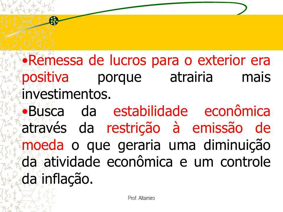 Prof. Altamiro Remessa de lucros para o exterior era positiva porque atrairia mais investimentos. Busca da estabilidade econômica através da restrição