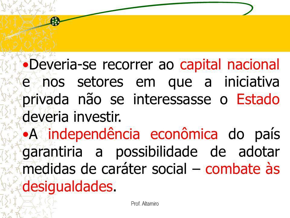 Prof. Altamiro Deveria-se recorrer ao capital nacional e nos setores em que a iniciativa privada não se interessasse o Estado deveria investir. A inde