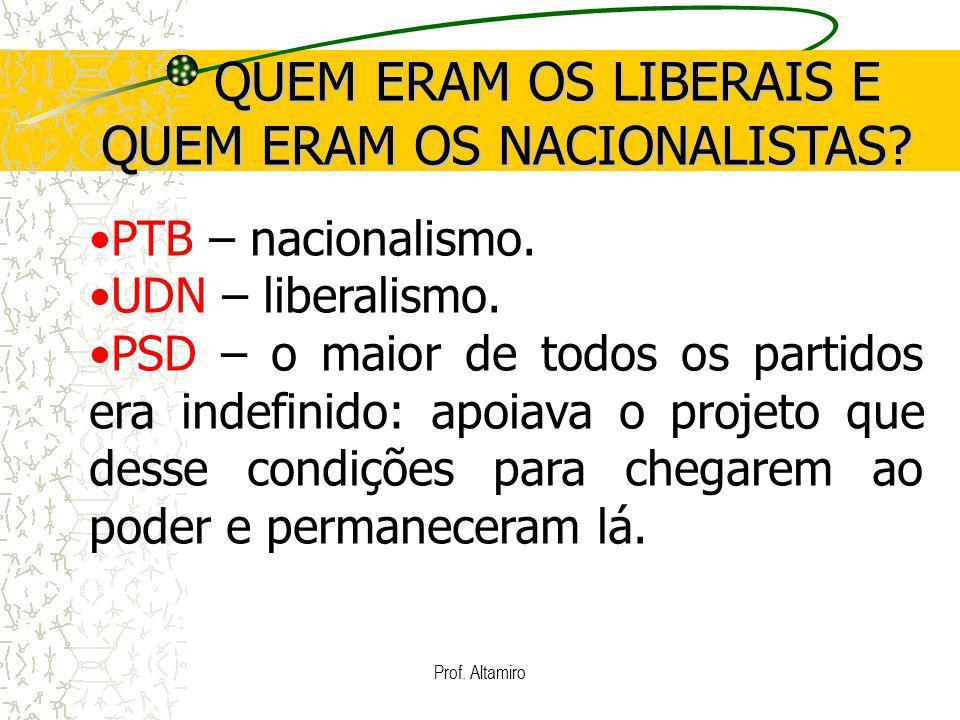 Prof. Altamiro QUEM ERAM OS LIBERAIS E QUEM ERAM OS NACIONALISTAS? QUEM ERAM OS LIBERAIS E QUEM ERAM OS NACIONALISTAS? PTB – nacionalismo. UDN – liber