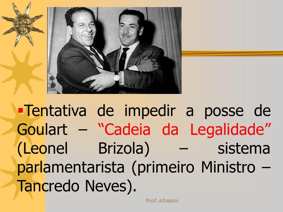 Prof. Altamiro Tentativa de impedir a posse de Goulart – Cadeia da Legalidade (Leonel Brizola) – sistema parlamentarista (primeiro Ministro – Tancredo