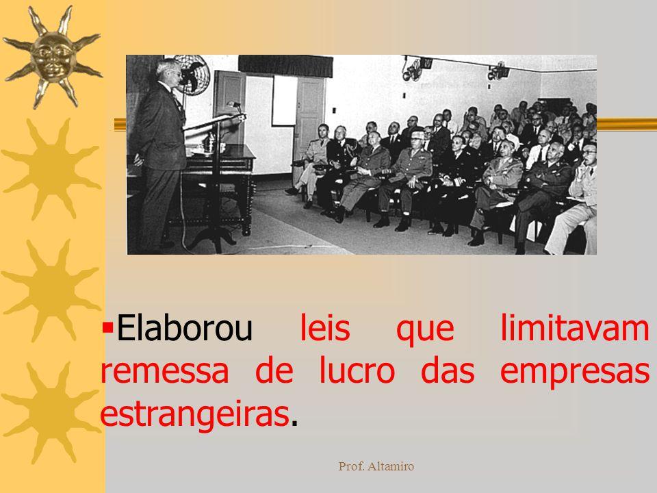 Prof. Altamiro Elaborou leis que limitavam remessa de lucro das empresas estrangeiras.