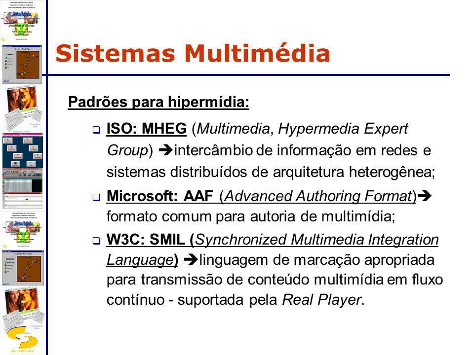 DSC/CEEI/UFCG Padrões para hipermídia: ISO: MHEG (Multimedia, Hypermedia Expert Group) intercâmbio de informação em redes e sistemas distribuídos de a