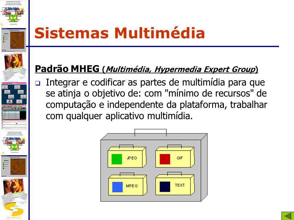 DSC/CEEI/UFCG Padrão MHEG (Multimédia, Hypermedia Expert Group) Integrar e codificar as partes de multimídia para que se atinja o objetivo de: com