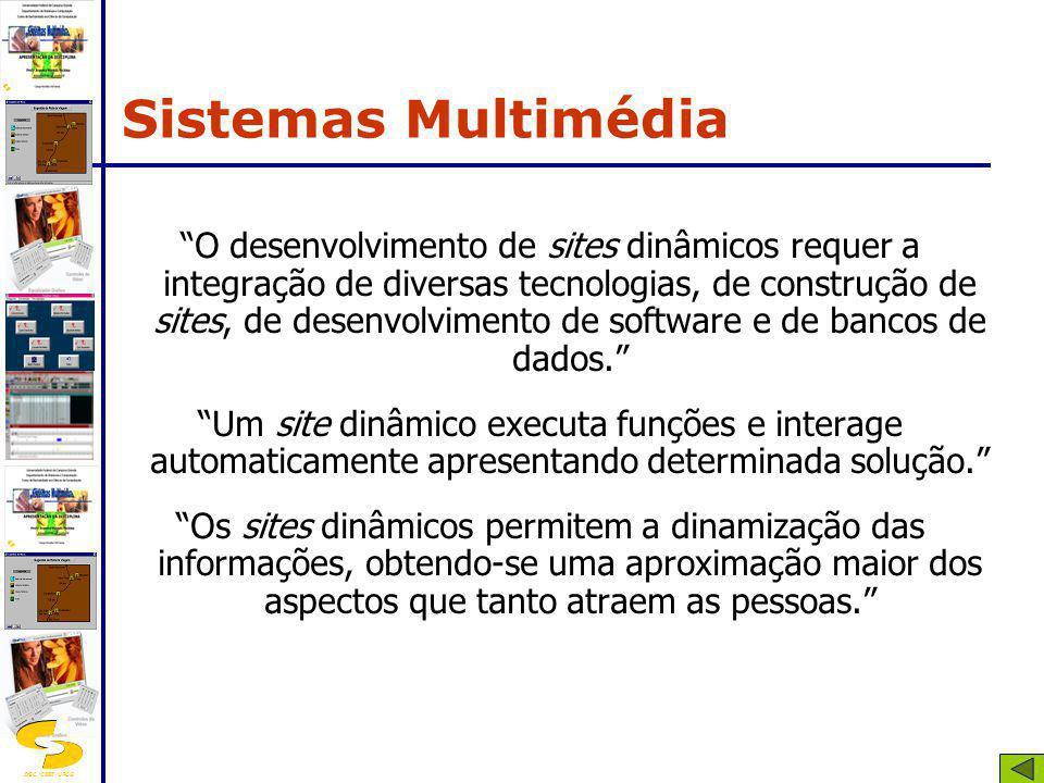 DSC/CEEI/UFCG O desenvolvimento de sites dinâmicos requer a integração de diversas tecnologias, de construção de sites, de desenvolvimento de software