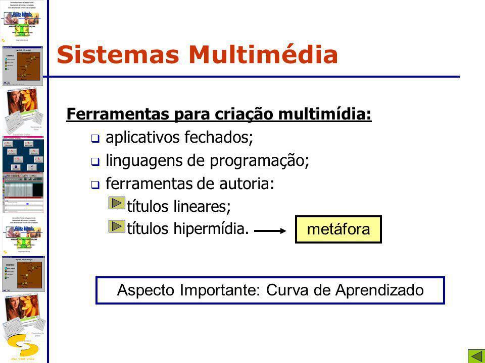 DSC/CEEI/UFCG Ferramentas para criação multimídia: aplicativos fechados; linguagens de programação; ferramentas de autoria: títulos lineares; títulos