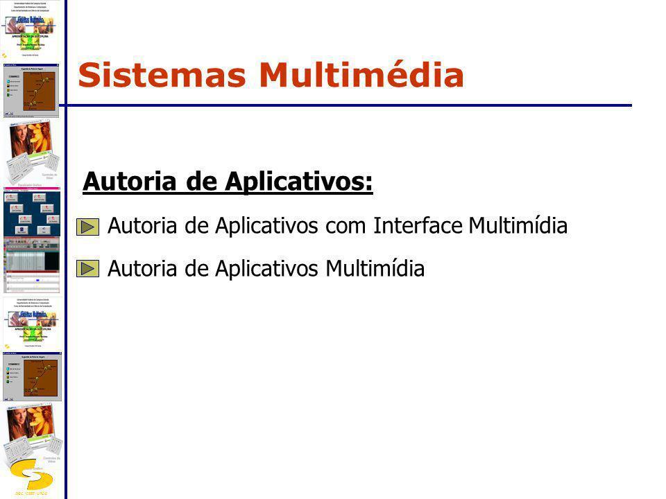 DSC/CEEI/UFCG Autoria de Aplicativos: Autoria de Aplicativos com Interface Multimídia Autoria de Aplicativos Multimídia Sistemas Multimédia