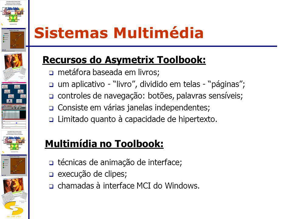 DSC/CEEI/UFCG Recursos do Asymetrix Toolbook: metáfora baseada em livros; um aplicativo - livro, dividido em telas - páginas; controles de navegação: