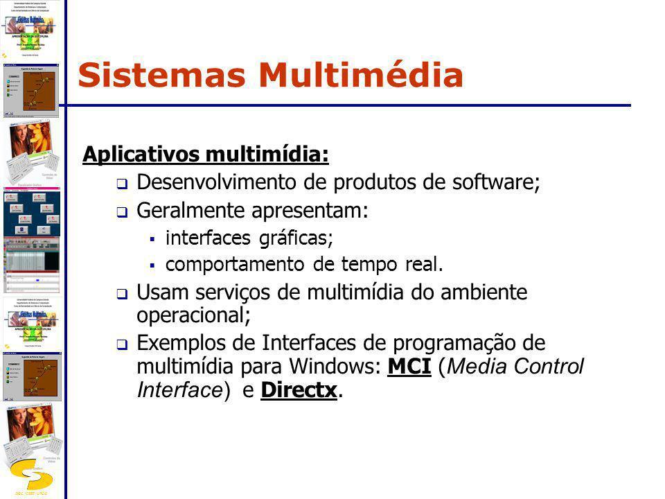 DSC/CEEI/UFCG Aplicativos multimídia: Desenvolvimento de produtos de software; Geralmente apresentam: interfaces gráficas; comportamento de tempo real