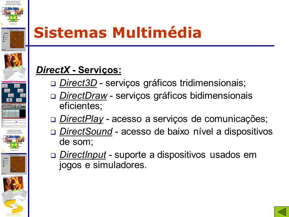 DSC/CEEI/UFCG DirectX - Serviços: Direct3D - serviços gráficos tridimensionais; DirectDraw - serviços gráficos bidimensionais eficientes; DirectPlay -