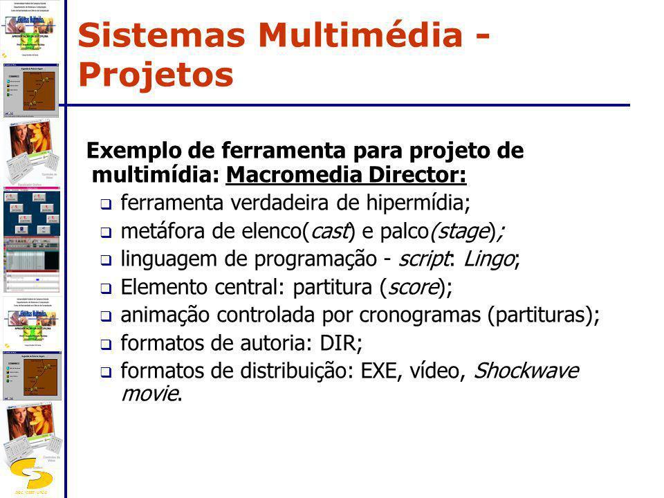 DSC/CEEI/UFCG Exemplo de ferramenta para projeto de multimídia: Macromedia Director: ferramenta verdadeira de hipermídia; metáfora de elenco(cast) e p