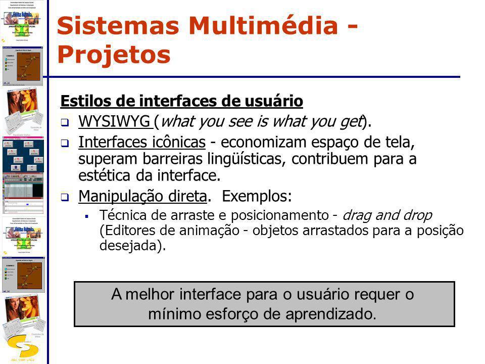 DSC/CEEI/UFCG Estilos de interfaces de usuário WYSIWYG (what you see is what you get). Interfaces icônicas - economizam espaço de tela, superam barrei