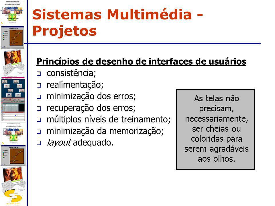DSC/CEEI/UFCG Princípios de desenho de interfaces de usuários consistência; realimentação; minimização dos erros; recuperação dos erros; múltiplos nív