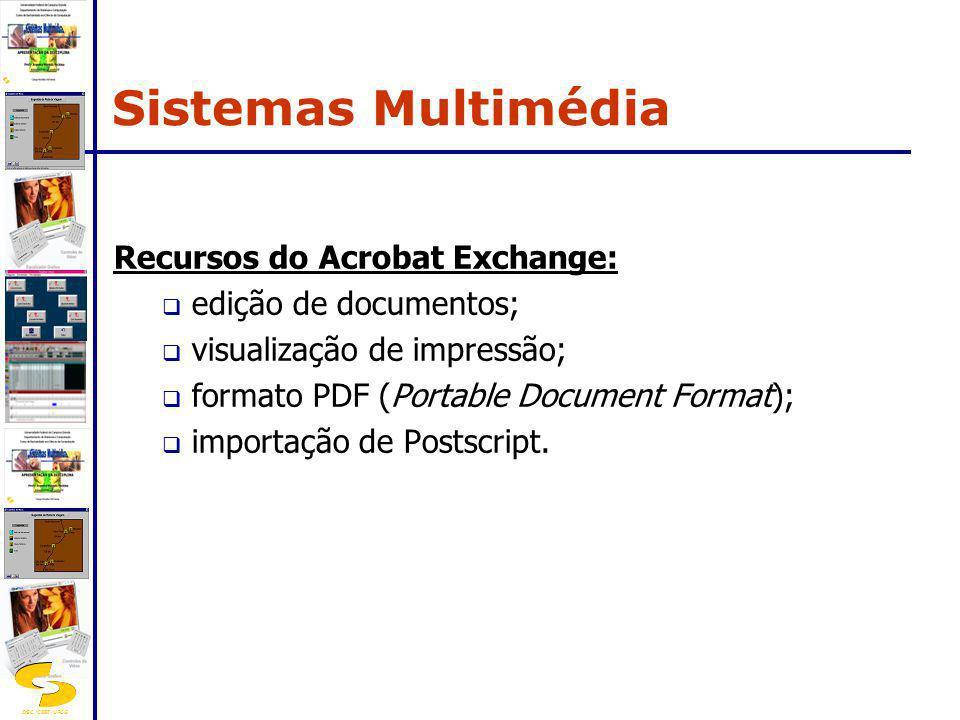 DSC/CEEI/UFCG Recursos do Acrobat Exchange: edição de documentos; visualização de impressão; formato PDF (Portable Document Format); importação de Pos