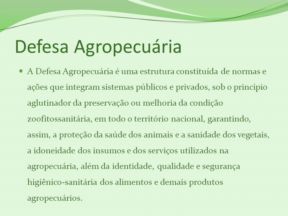 Defesa Agropecuária A Defesa Agropecuária é uma estrutura constituída de normas e ações que integram sistemas públicos e privados, sob o principio agl