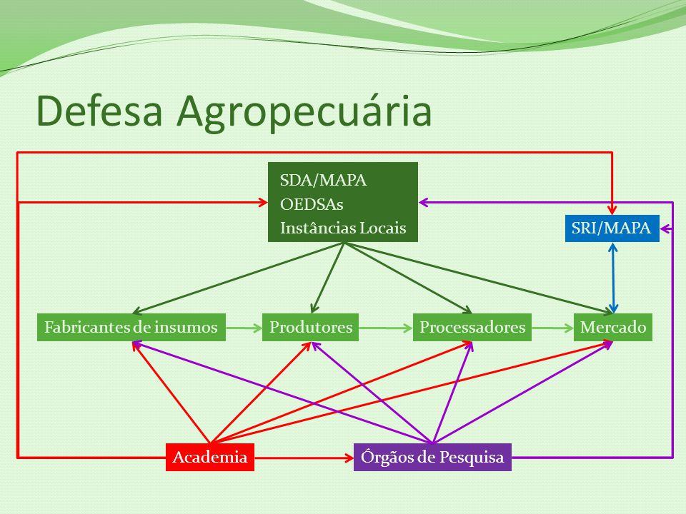 Defesa Agropecuária SDA/MAPA OEDSAs Instâncias LocaisSRI/MAPA ProdutoresProcessadoresFabricantes de insumos AcademiaÓrgãos de Pesquisa Mercado
