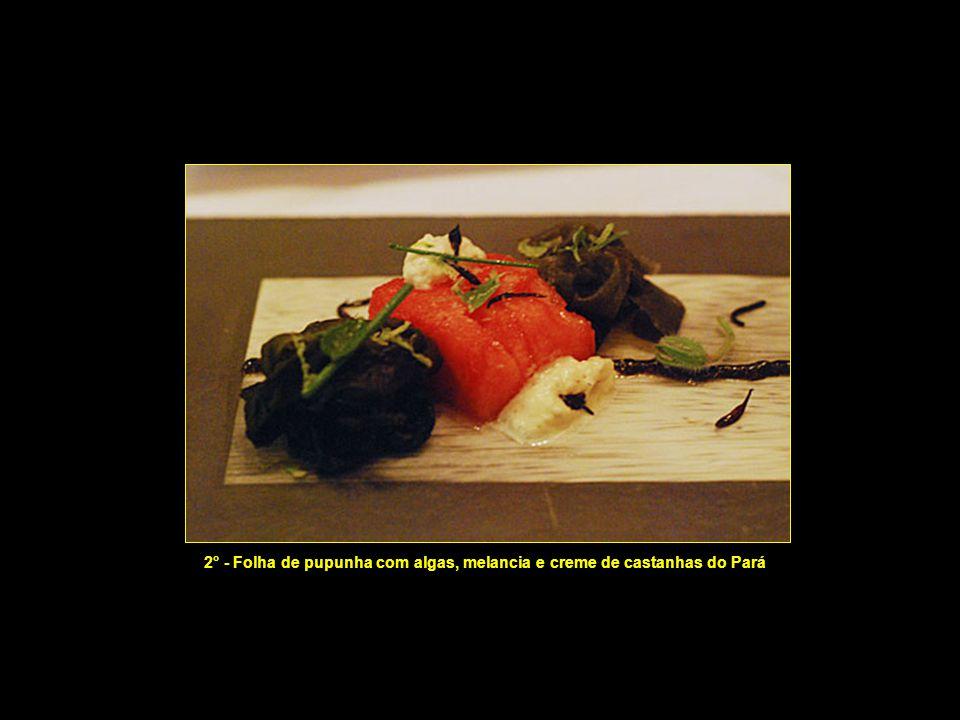 1° prato - Gel de tomates verdes e ervas cítricas da floresta (Sabores desconhecidos e surpreendentes!)