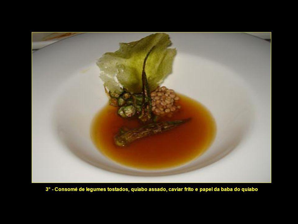 2° - Folha de pupunha com algas, melancia e creme de castanhas do Pará 2° - Folha de pupunha com algas, melancia e creme de castanhas do Pará