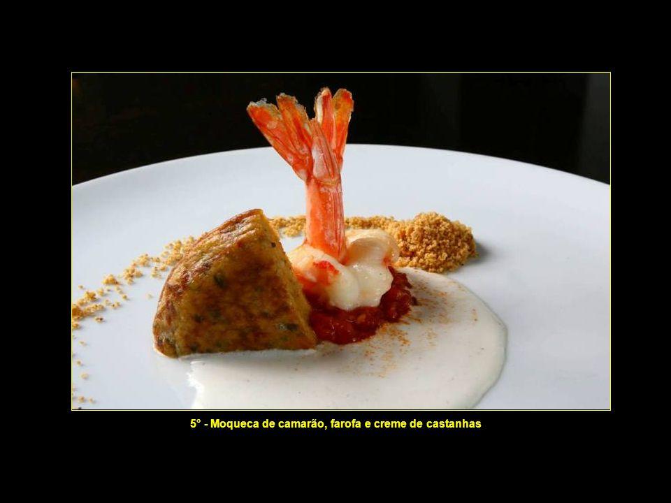 4° - 4° - Arroz negro com legumes verdes e leite de castanhas do Pará (3 garfadas)