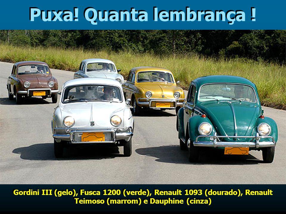 E desses, se lembra ? FNM 2000 (vermelho), Aero-Willys 2600 (azul claro), Simca Chambord (azul e branco), Simca Jangada (teto verde) e FNM 2000 Timb (