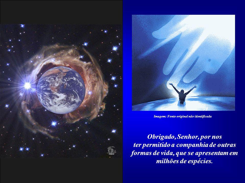 Obrigado, Senhor, por nos ter dado como morada este Planeta, a nossa Terra, verdadeira jóia do sistema solar. Imagem: Fonte original não identificada