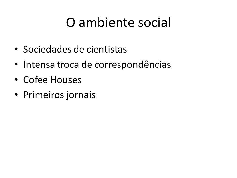 O ambiente social Sociedades de cientistas Intensa troca de correspondências Cofee Houses Primeiros jornais