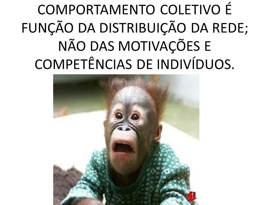 COMPORTAMENTO COLETIVO É FUNÇÃO DA DISTRIBUIÇÃO DA REDE; NÃO DAS MOTIVAÇÕES E COMPETÊNCIAS DE INDIVÍDUOS.