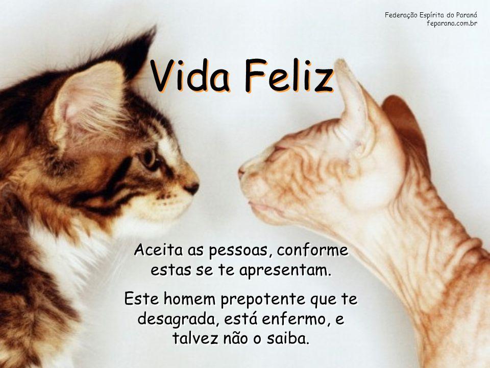 Federação Espírita do Paraná feparana.com.br Vida Feliz Vida Feliz Aceita as pessoas, conforme estas se te apresentam. Este homem prepotente que te de