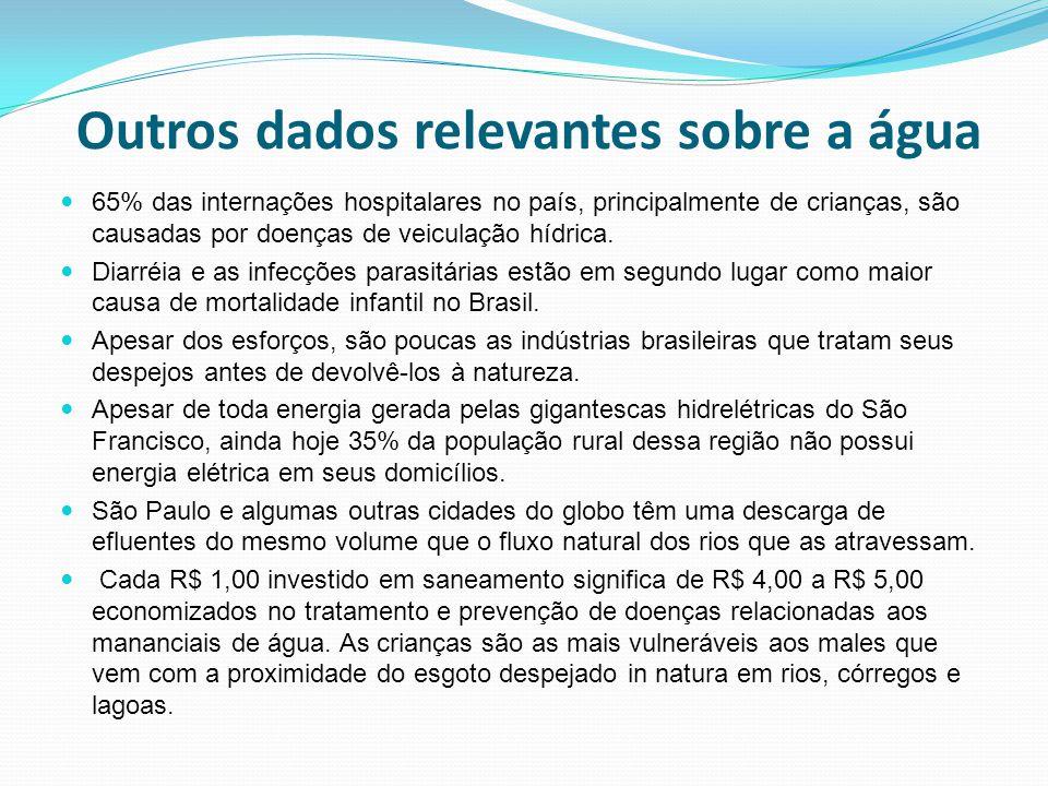 Outros dados relevantes sobre a água 65% das internações hospitalares no país, principalmente de crianças, são causadas por doenças de veiculação hídr