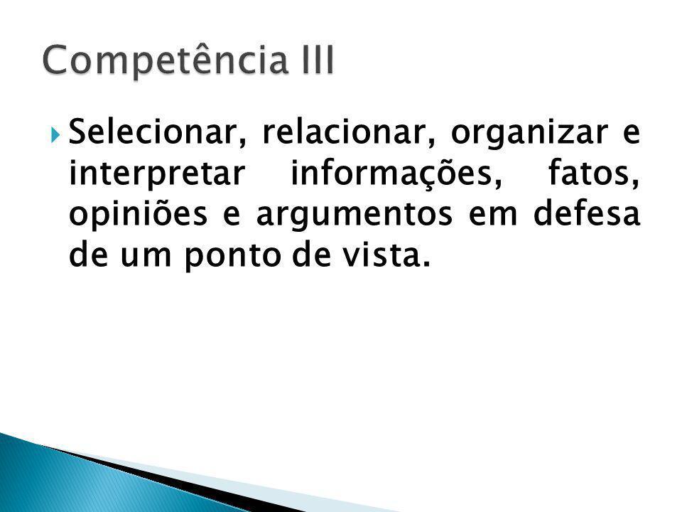 Selecionar, relacionar, organizar e interpretar informações, fatos, opiniões e argumentos em defesa de um ponto de vista.