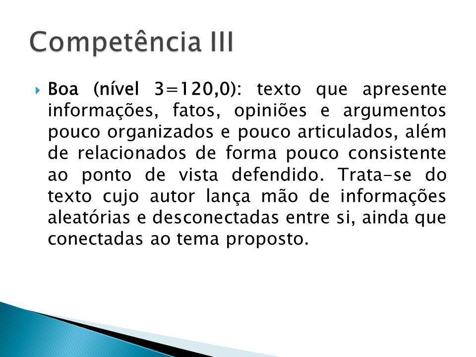 Boa (nível 3=120,0): texto que apresente informações, fatos, opiniões e argumentos pouco organizados e pouco articulados, além de relacionados de form