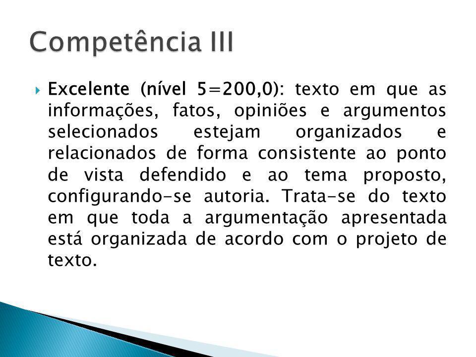 Excelente (nível 5=200,0): texto em que as informações, fatos, opiniões e argumentos selecionados estejam organizados e relacionados de forma consiste