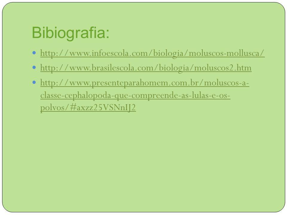 Bibiografia: http://www.infoescola.com/biologia/moluscos-mollusca/ http://www.brasilescola.com/biologia/moluscos2.htm http://www.presenteparahomem.com