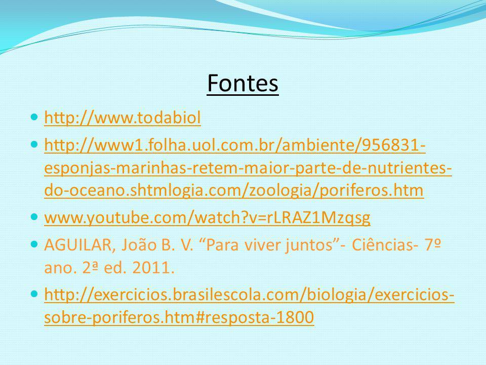 Fontes http://www.todabiol http://www1.folha.uol.com.br/ambiente/956831- esponjas-marinhas-retem-maior-parte-de-nutrientes- do-oceano.shtmlogia.com/zo