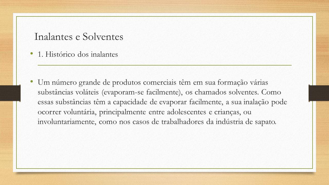 Inalantes e Solventes 1. Histórico dos inalantes Um número grande de produtos comerciais têm em sua formação várias substâncias voláteis (evaporam-se