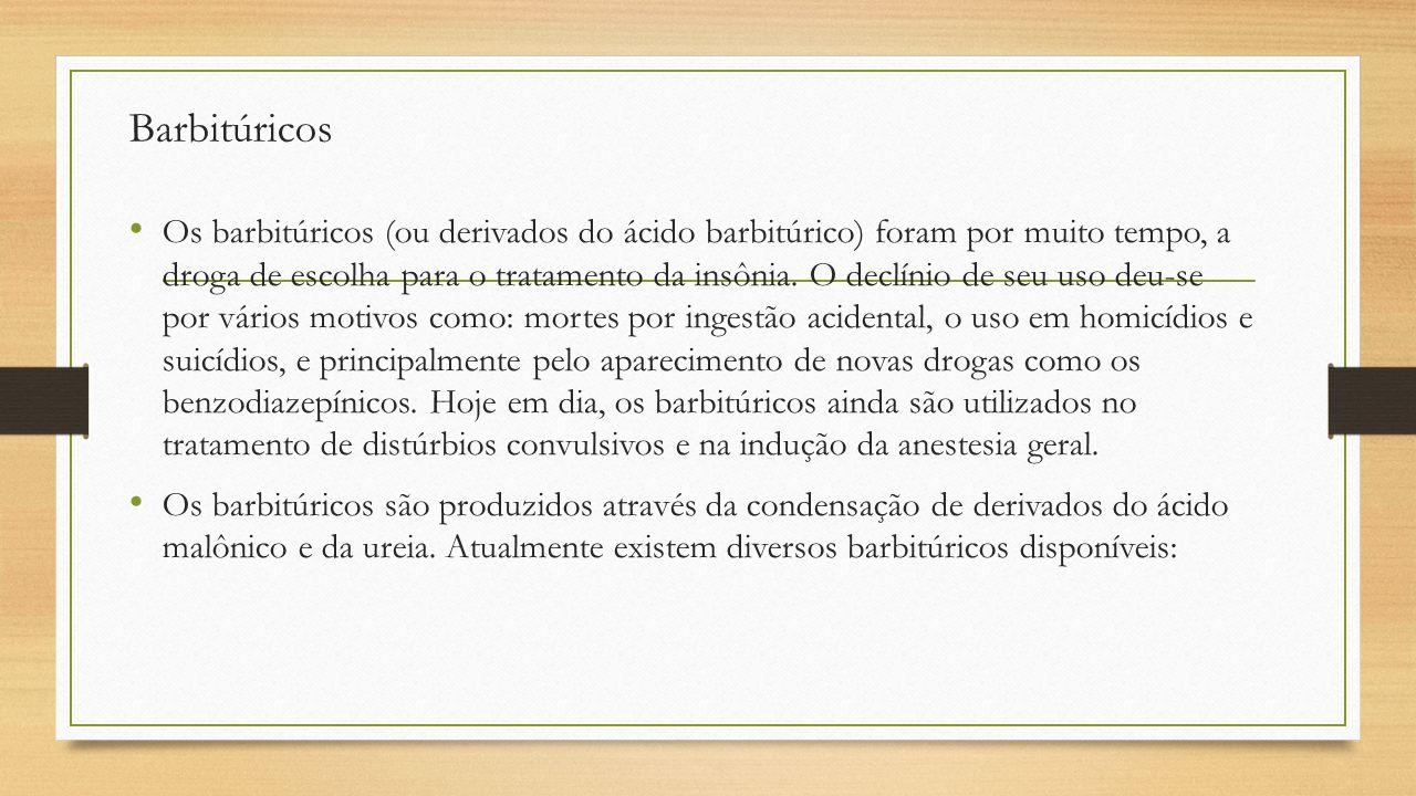Barbitúricos Os barbitúricos (ou derivados do ácido barbitúrico) foram por muito tempo, a droga de escolha para o tratamento da insônia. O declínio de