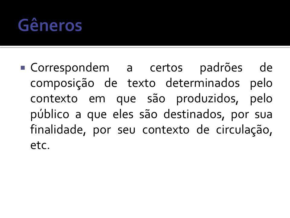 Correspondem a certos padrões de composição de texto determinados pelo contexto em que são produzidos, pelo público a que eles são destinados, por sua