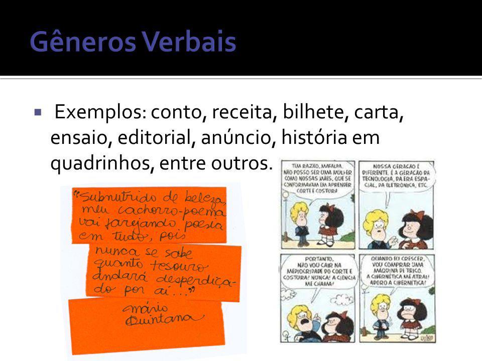 Exemplos: conto, receita, bilhete, carta, ensaio, editorial, anúncio, história em quadrinhos, entre outros.