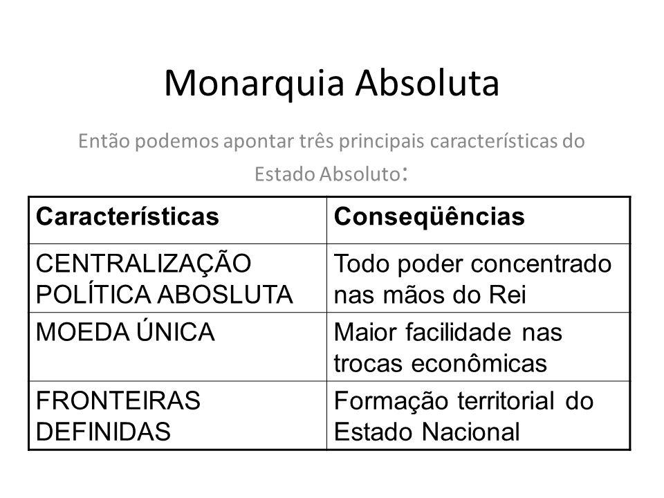 Monarquia Absoluta Então podemos apontar três principais características do Estado Absoluto : CaracterísticasConseqüências CENTRALIZAÇÃO POLÍTICA ABOS