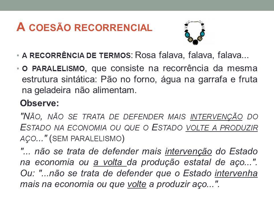 A COESÃO RECORRENCIAL A RECORRÊNCIA DE TERMOS : Rosa falava, falava, falava... O PARALELISMO, que consiste na recorrência da mesma estrutura sintática