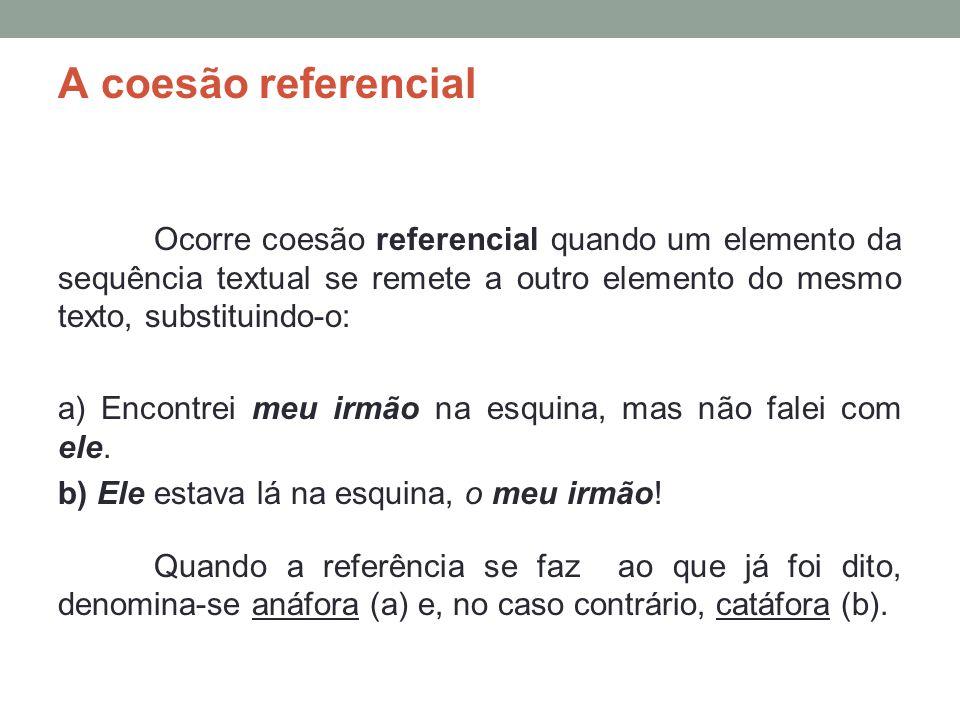 A coesão referencial Ocorre coesão referencial quando um elemento da sequência textual se remete a outro elemento do mesmo texto, substituindo-o: a) Encontrei meu irmão na esquina, mas não falei com ele.